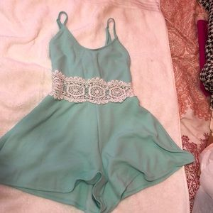 Romper with lace insert
